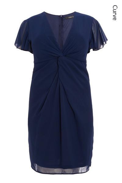 Curve Navy Chiffon Midi Dress